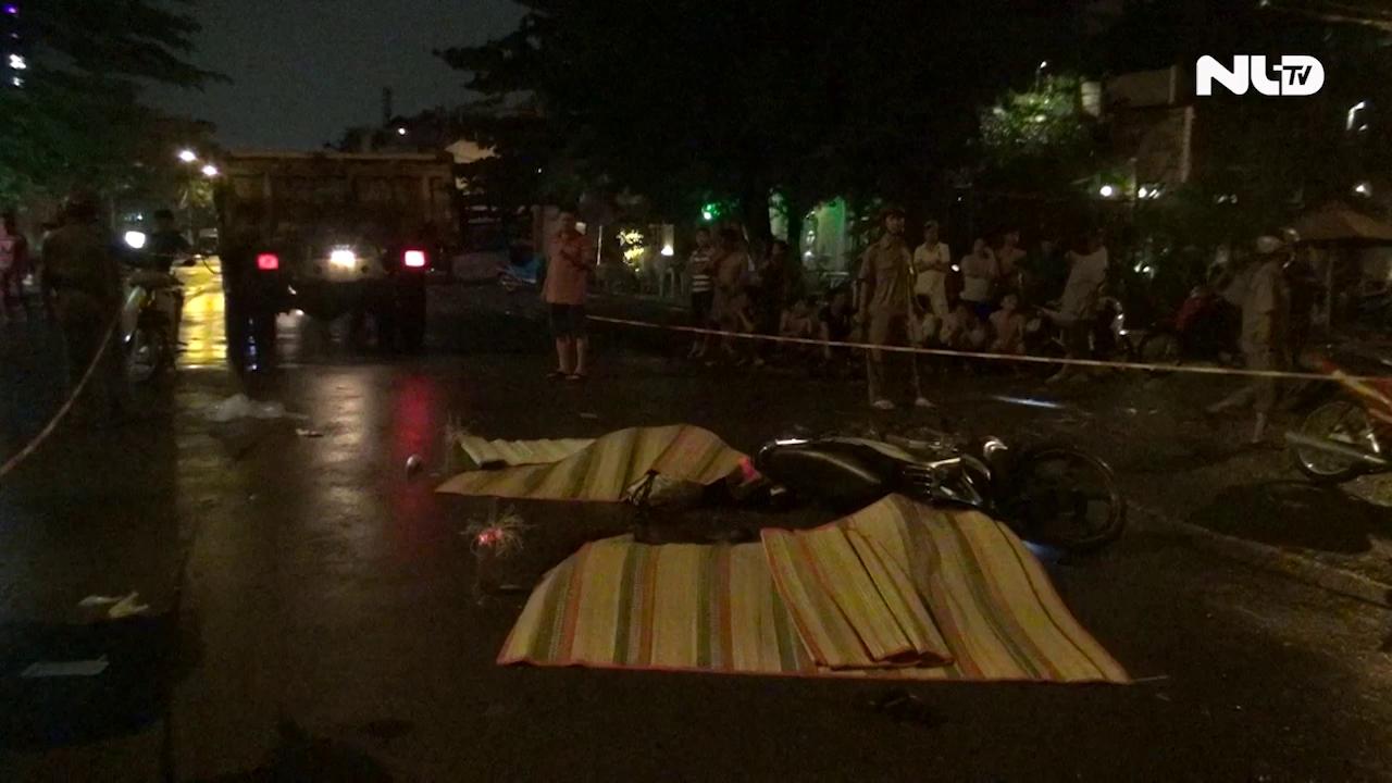 Xe tải tông xe máy giữa giao lộ, 3 người chết