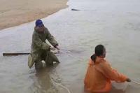 Trục vớt gỗ lậu dưới sông