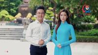 Hoa hậu Mỹ Linh khoác màu áo xanh chào mừng Đại hội Đoàn thành phố Hà Nội