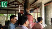 Đoàn quan trắc kiểm tra tại lò đốt rác của BVĐK Ninh Bình.