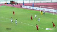 Tuấn Tài sút bóng trúng xà ngang U22 Thái Lan ở phút 42