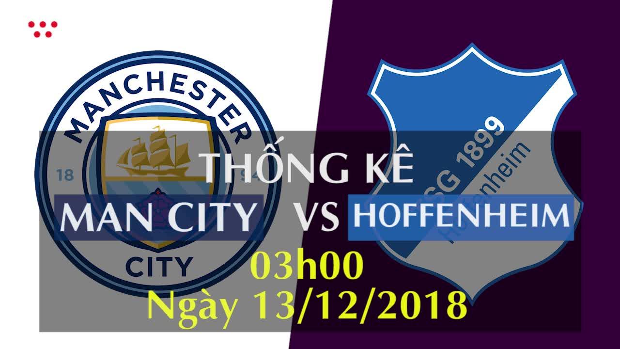 Thống kê bóng đá Champions League 2018/19: Man City - Hoffenheim