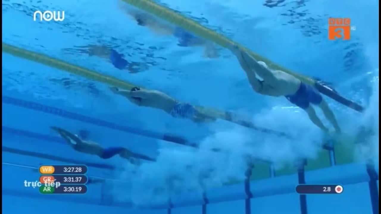 Phần thi 4x100m hỗn hợp nam của ĐT bơi Việt Nam tại ASIAD 2018
