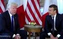 """Ông Trump và Tổng thống Pháp """"nghiến răng"""" bắt tay trong lần gặp đầu tiên"""