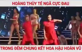 Hoàng Thùy té ngã cực mạnh trên sân khấu đêm chung kết Hoa hậu Hoàn vũ Việt Nam 2017