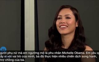 """Thí sinh """"Hoa hậu Hoàn vũ VN"""" khoe tài nói tiếng Anh"""