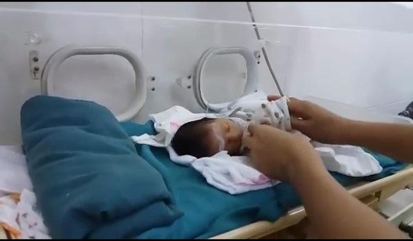 Cận cảnh bé Thông đang nằm trong lồng kính với sự chăm sóc vỗ về của các nhân viên y tế
