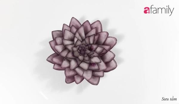 Trổ tài khéo tay tỉa củ hành tím thành bông hoa sen đẹp mắt