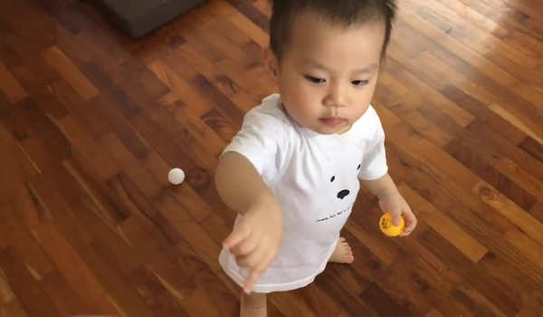 Đơn giản với một cái hộp không và một lõi giấy vệ sinh cũng tạo thành trò chơi cho bé