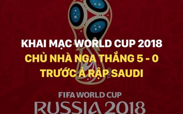 Nga thắng đậm Saudi Arabia ngày khai màn World Cup 2018