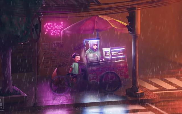 Xe hàng rong ở Sài Gòn trong cơn mưa đêm