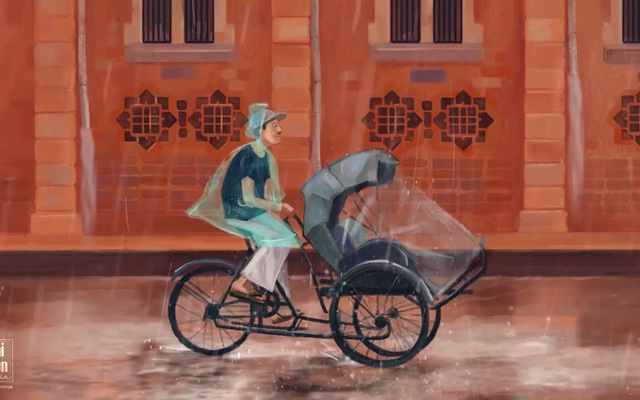 Xích lô trong mưa
