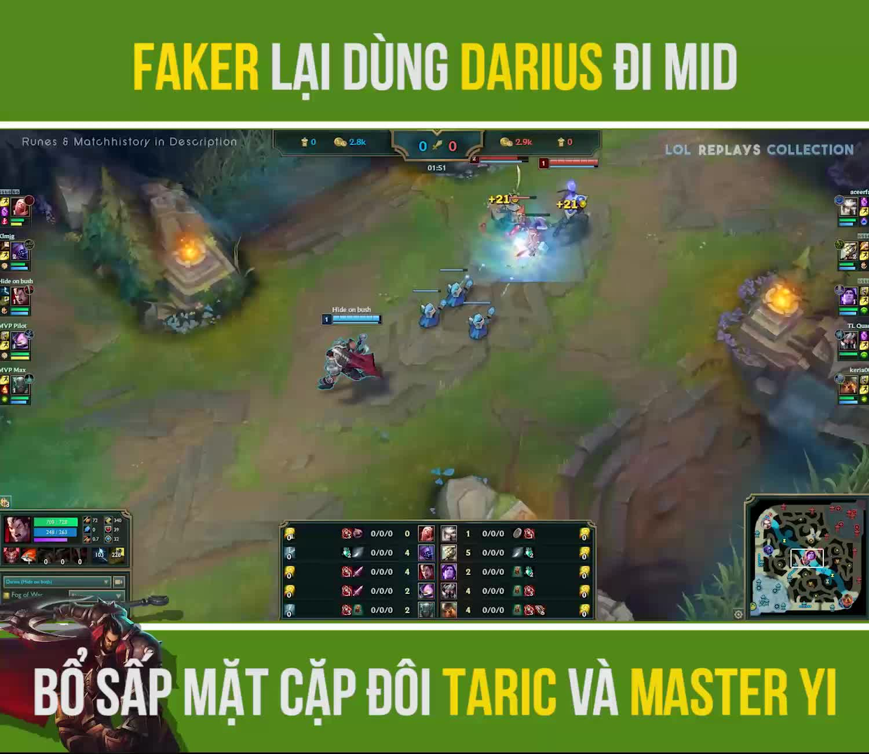 Đến Dopa cũng bó tay, thế nhưng Faker lại dùng Darius đi mid khắc chế được cặp đôi Taric và Master Yi - ảnh 2