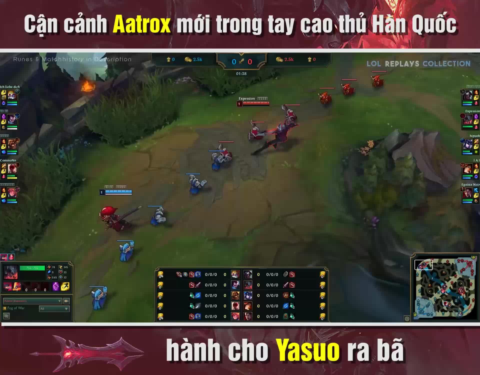 LMHT: Cận cảnh Aatrox mới trong tay cao thủ Hàn Quốc, hành cho Yasuo ra bã