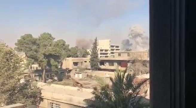 Toàn cảnh khu vực gần căn cứ Thiết giáp trong quận Harasta - Đông Ghouta -video mạng xã hội ủng hộ quân đội Syria