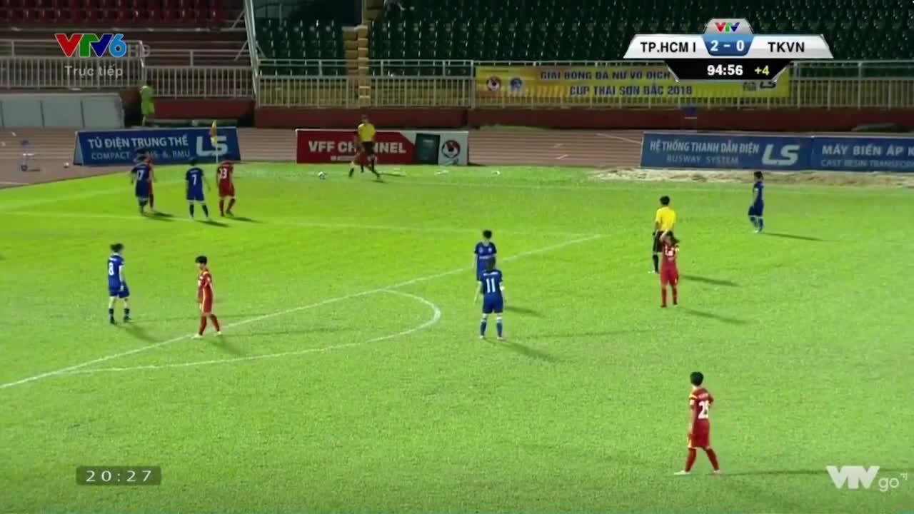 Màn loạn đả trên sân Thống Nhất giữa các cầu thủ nữ TP.HCM I và Than Khoáng sản