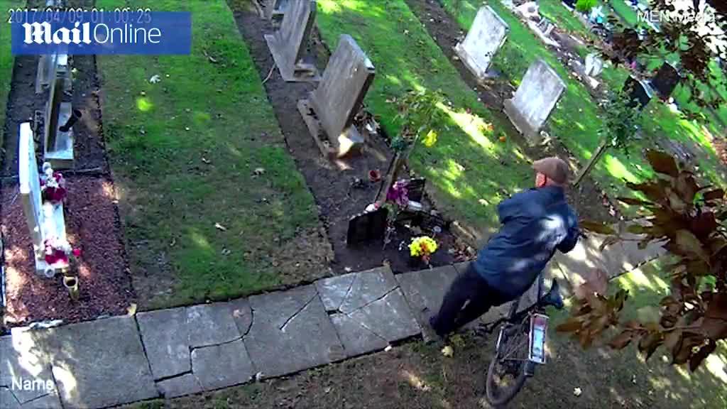 Video cho thấy một người đàn ông đã ăn trộm hoa từ ngôi mộ nhà Steve mà không rõ vì mục đích gì.
