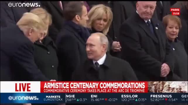 Video: Tổng thống Nga - Mỹ chào nhau ở lễ kỷ niệm 100 năm Ngày đình chiến