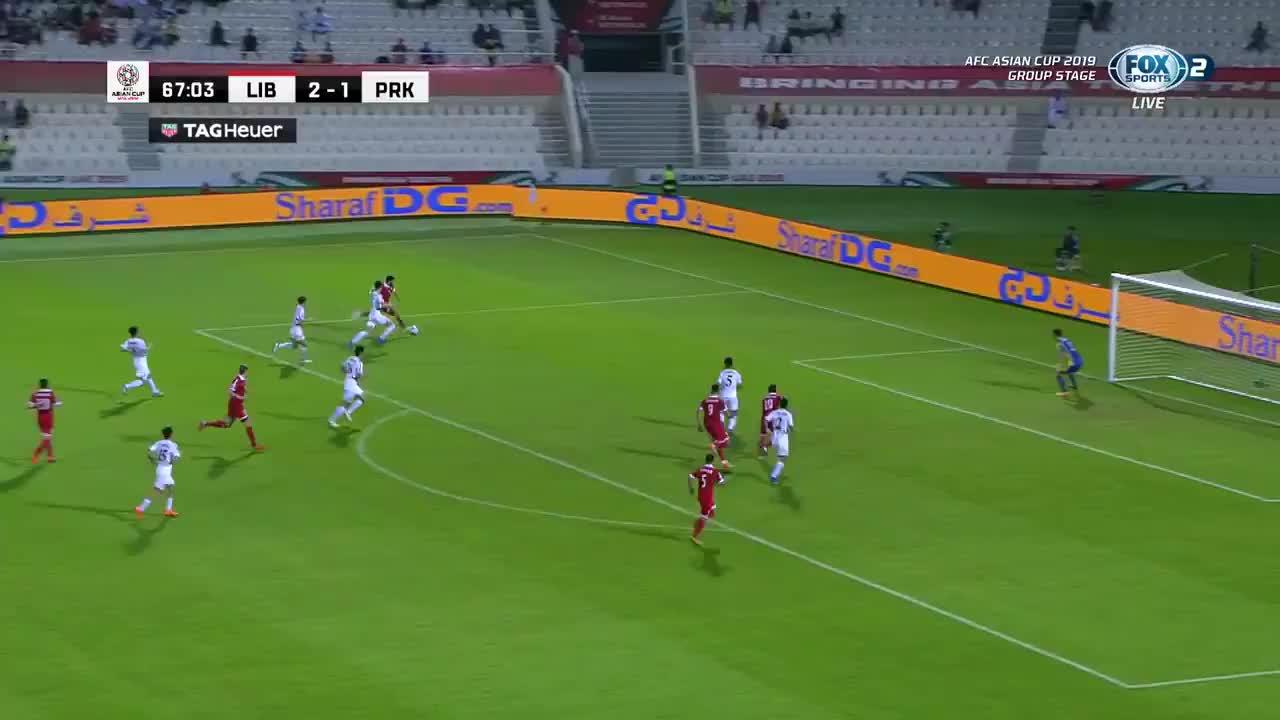 VCK Asian Cup 2019: Lebanon có bàn dẫn trước 2-1 trước Triều Tiên