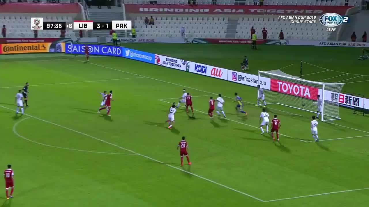 VCK Asian Cup 2019: Lebanon ghi bàn thắng nâng tỷ số lên 4-1 trước Triều Tiên