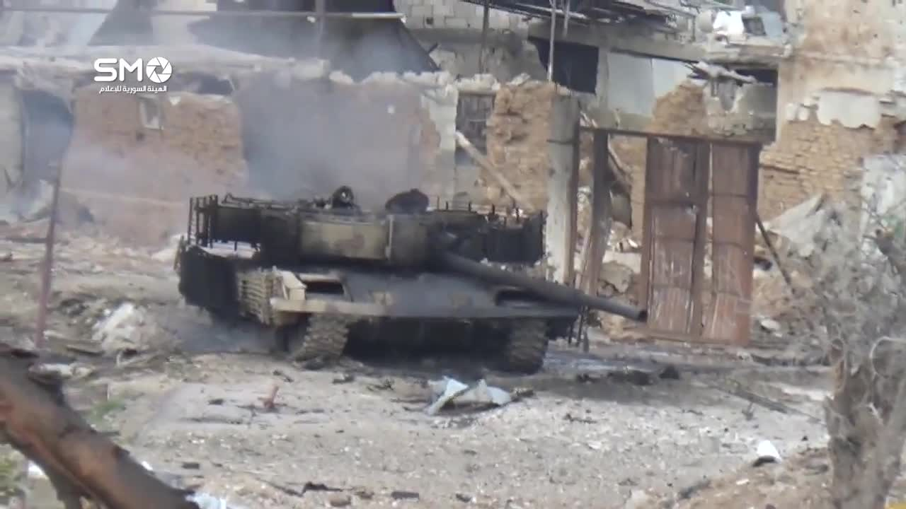 T-72 Mahmia (AKA Adra) hit by IED in Qaboun, 18th April, 2017, and later burned by rebels