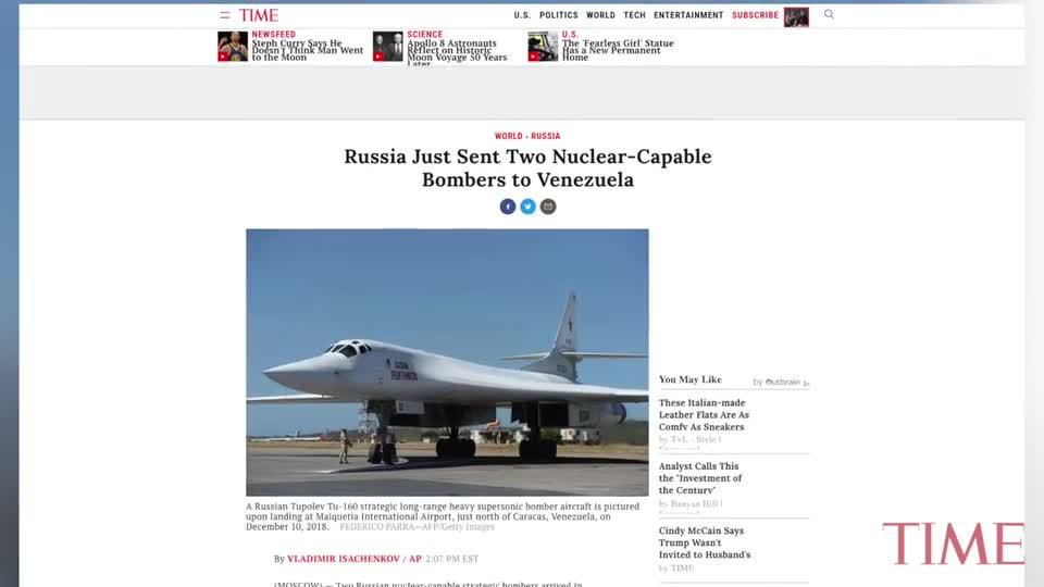 Máy bay ném bom chiến lược Tu-160 Nga đáp xuống Venezuela
