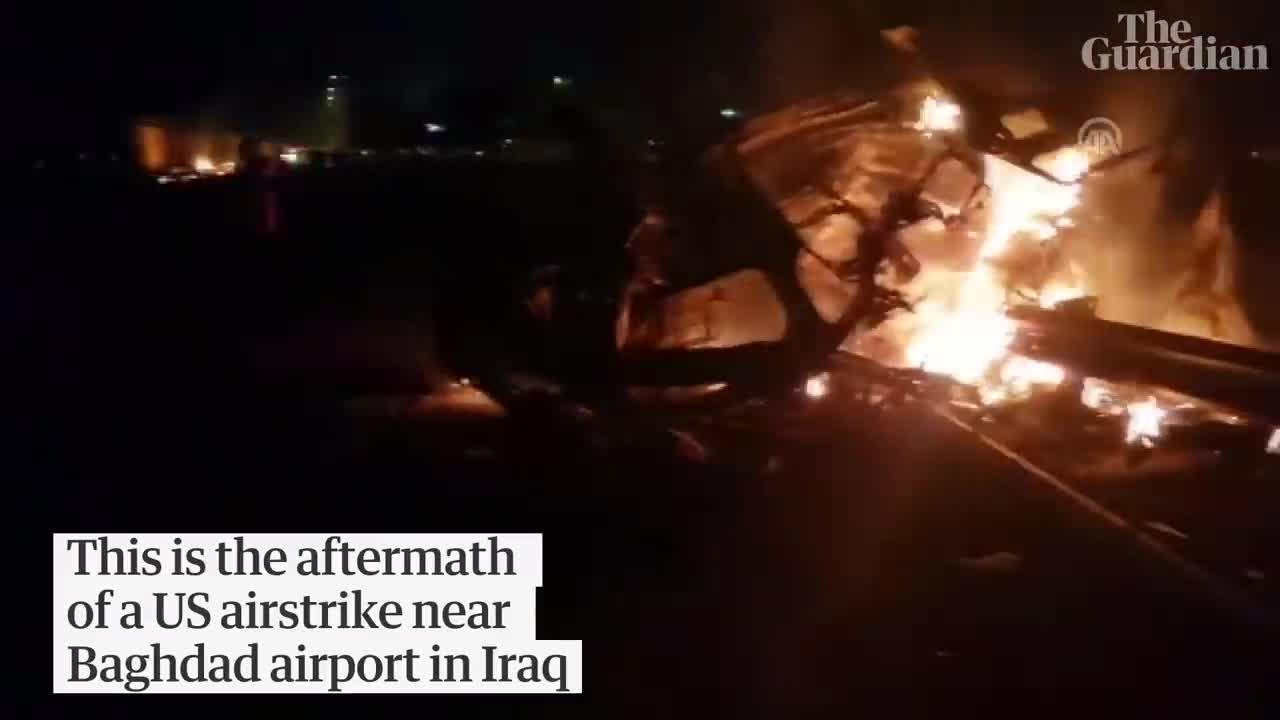 Hiện trường sau vụ Mỹ không kích giết hại tướng cấp cao Iran Qassem Soleimani