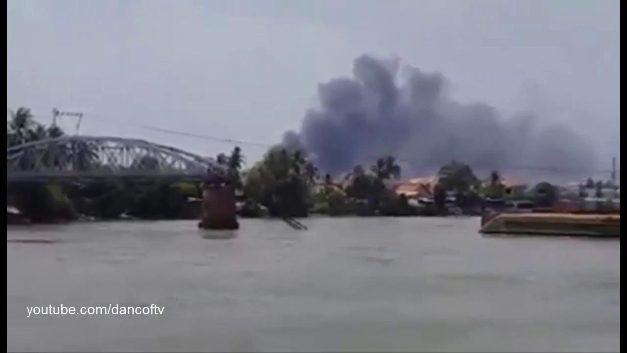 Cháy chợ Hóa An (Nguồn: Youtube)