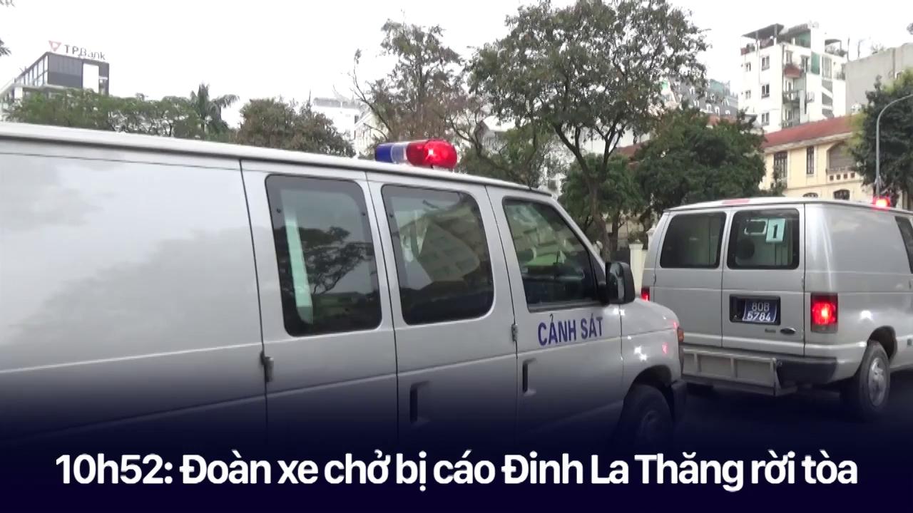 Bị cáo Đinh La Thăng, Trịnh Xuân Thanh và các đồng phạm được áp giải lên xe chuyên dụng sau khi tòa tuyên án