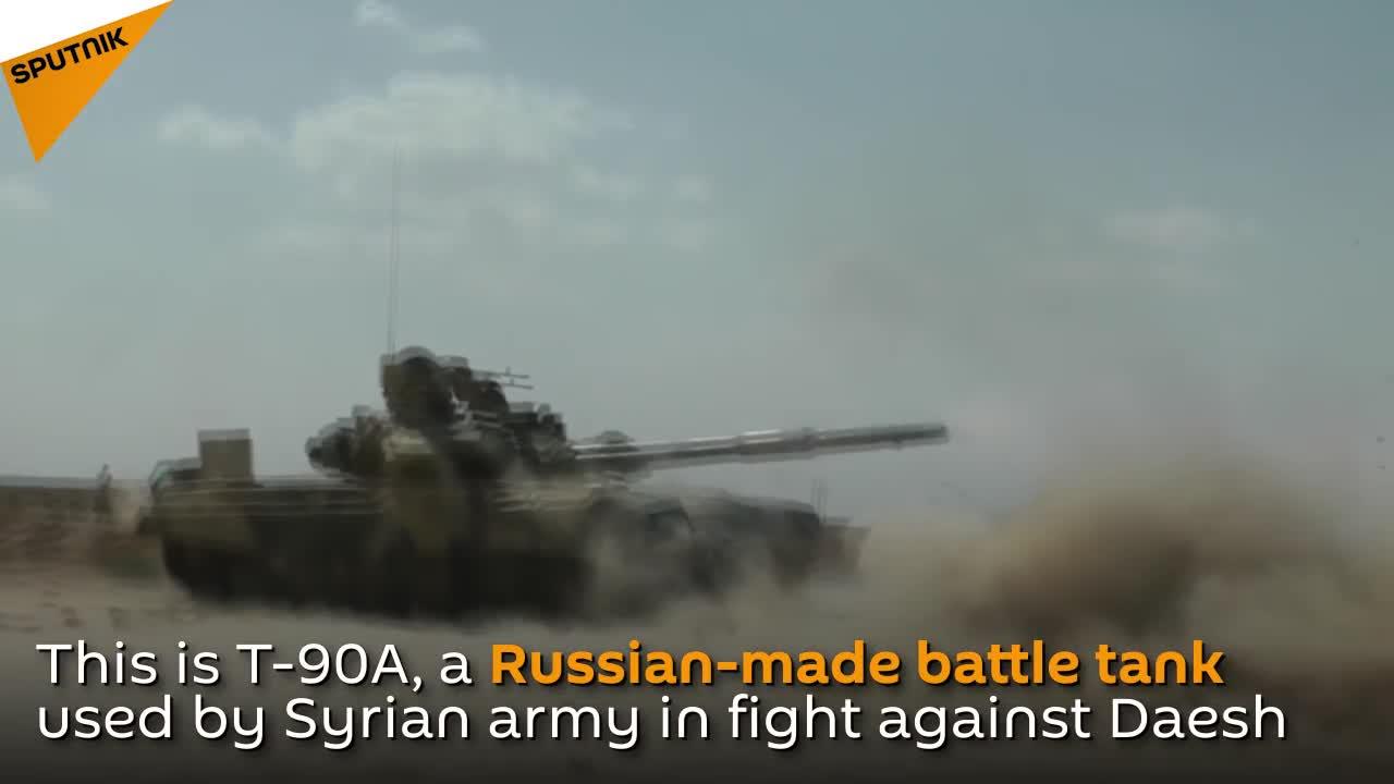 Xe tăng chiến đấu chủ lực T-90A Nga cung cấp cho Quân đội Syria hoạt động trên chiến trường