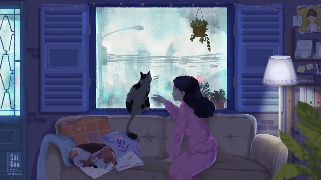 Khi Sài Gòn có mưa là lúc chỉ muốn ở trong nhà ngắm nhìn thành phố qua ô cửa nhỏ và nghe tiếng mưa lộp độp trên mái tôn.