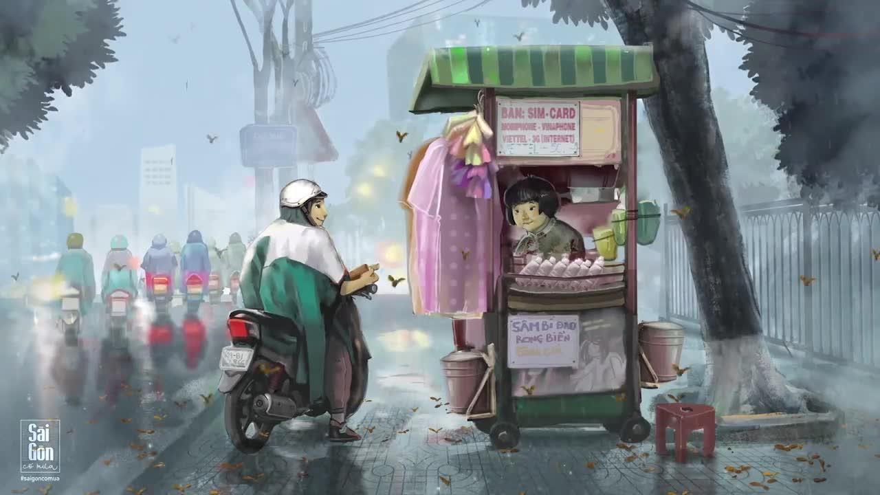 Trời đổ mưa, những cánh chò nâu xoay tít trong gió. Những chiếc xe máy vội vàng tấp vào lề để khoác ngay lớp áo mưa lên người.
