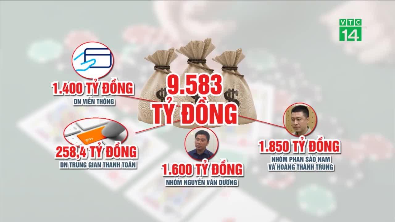"""Các """"ông trùm"""" chia 9.66 tỷ đồng từ sới bạc onlline thế nào? (nguồn: VTC14)"""