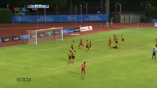 Công Phượng đá phạt vào lưới U23 Malaysia