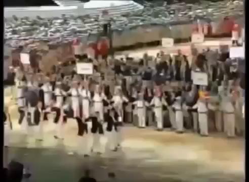 Hàn Quốc và Triều Tiên diễu hành dưới cùng 1 lá cờ thống nhất tại Olympic Sydney năm 2000. Nguồn: Youtube