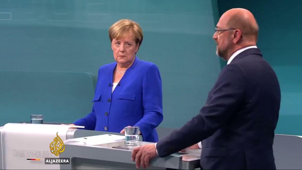 Cuộc tranh luận trên truyền hình giữa 2 ứng cử viên Thủ tướng Martin Schulz và Angela Merkel. Nguồn: Aljazeera