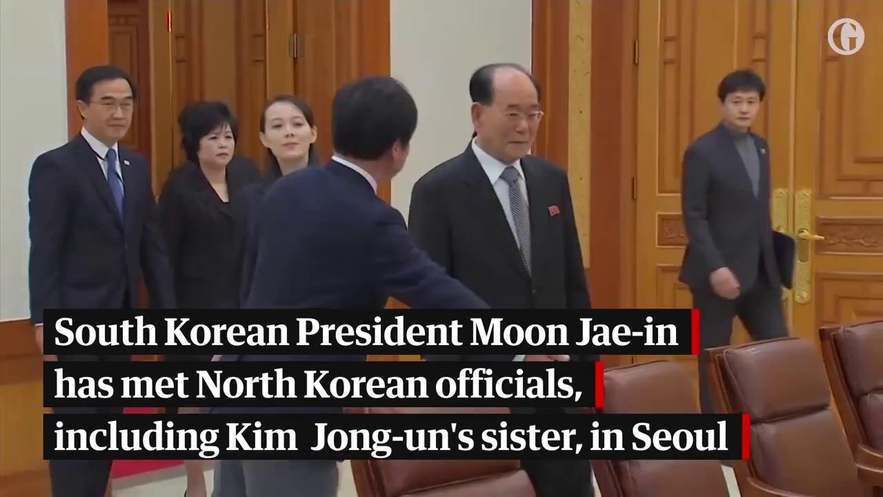Tổng thống Hàn Quốc gặp mặt đoàn đại biểu Triều Tiên. Nguồn: The Guardian