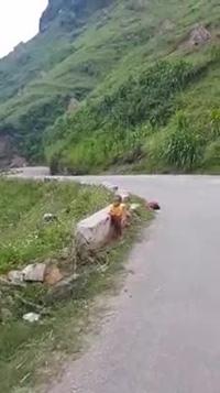 Em bé dân tộc ngủ ngay bên vệ đường đèo khi theo mẹ đi làm việc khiến nhiều cảm động.