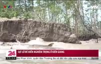 Sạt lở đê biển nghiêm trọng ở Kiên Giang
