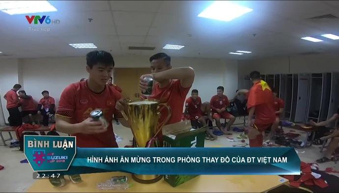 Chung kết AFF Cup 2018: Cận cảnh màn ăn mừng của ĐT Việt Nam trong phòng thay đồ