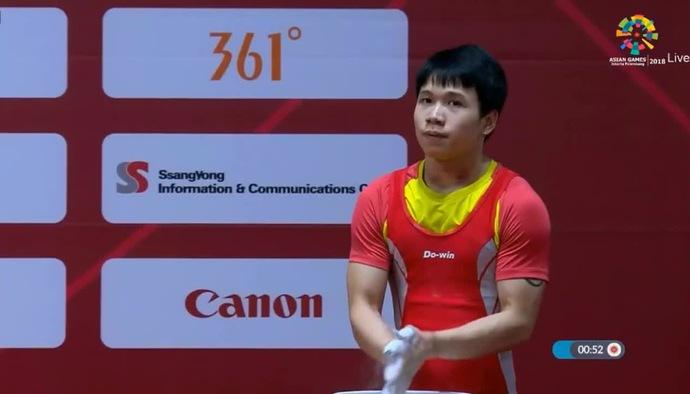 Phần thi cử tạ của Đinh Xuân Hoàng hạng cân 62 kg tại ASIAD 2018
