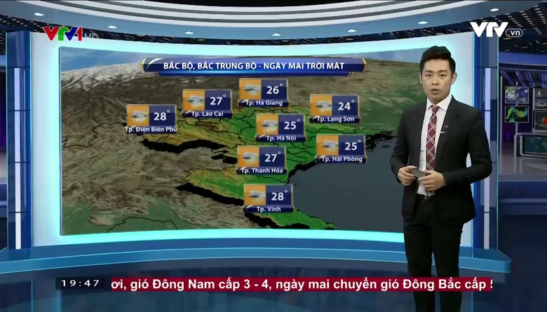 Bản tin thời tiết 19h45 - 26/4/2017