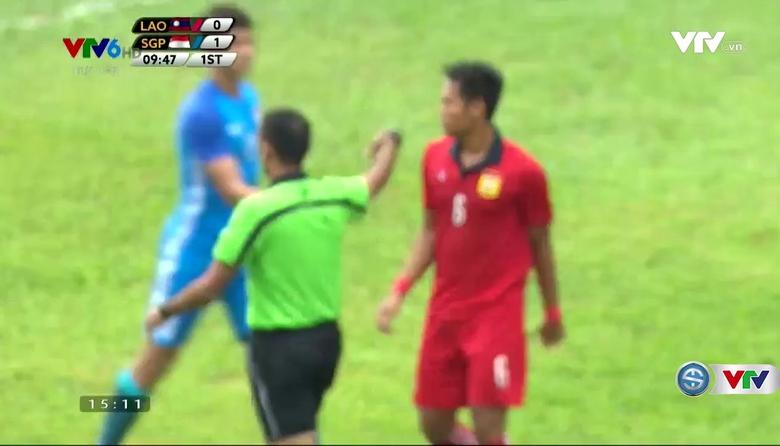 Phút 11: Ikhsan lâp công từ chấm phạt đền (U22 Lào 0-2 U22 Singapore)