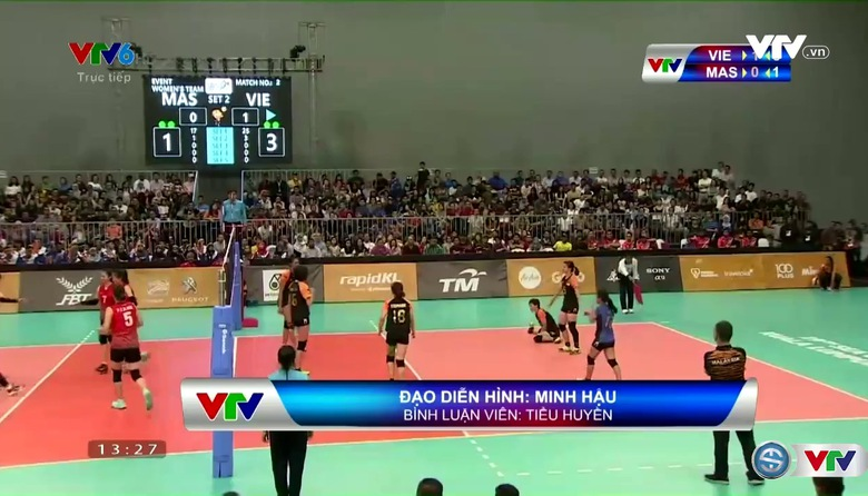 Bóng chuyền nữ: ĐT Việt Nam 3-0 ĐT Malaysia (Hình ảnh được VTV sản xuất trực tiếp và truyền về từ Malaysia)