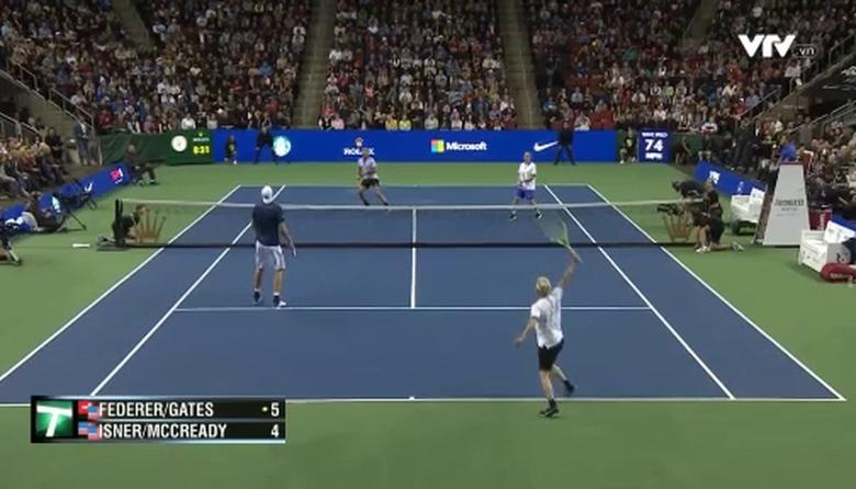 Highlight trận đấu giữa Roger Federer/Bill Gates và John Isner/Mike McCready