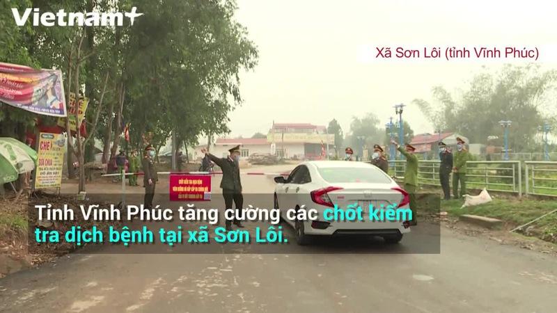 Chốt kiểm soát ra vào tại xã Sơn Lôi bị cách ly
